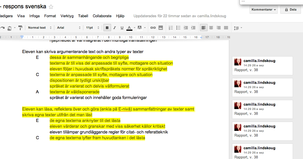 Ett Google-dokument med bedömingskriterier.