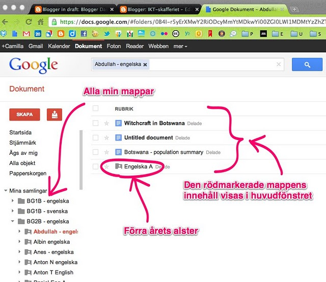 Mappstruktur i google dokument.