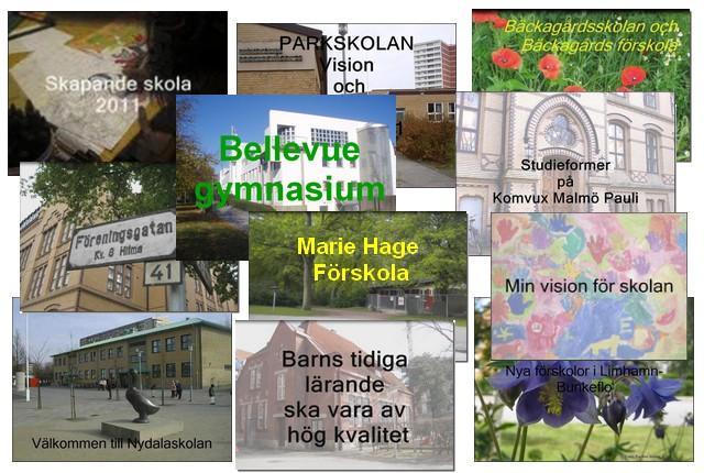 Flera bilder på olika skolor i malmö