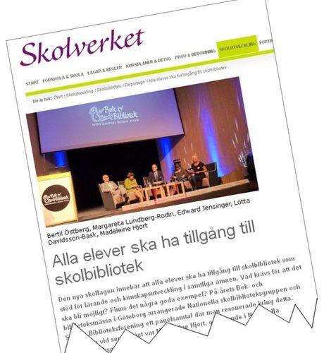 Bild från Skolverkets hemsida om skolbibliotek.