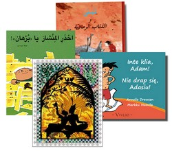 Barnböcker på olika språk ligger tillsammans.