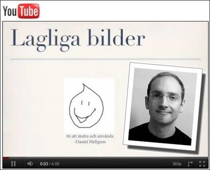 Skärmbild av youtubefilmen Lagliga bilder
