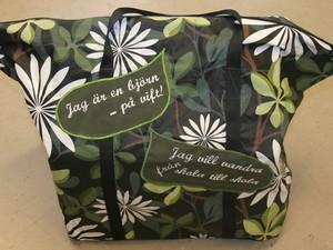 Väska med texten nalle på vift broderad.