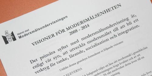 Dokument som heter Visioner för modersmålsenheten.