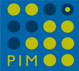Flera cirklar i gult och blått och ordet PIM bildar en kvadrat.