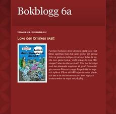 """""""Bokblogg 6a"""" står på röd bakgrund."""