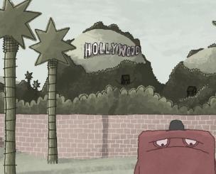 Tecknat monster står nedanför Hollywoodkullen.