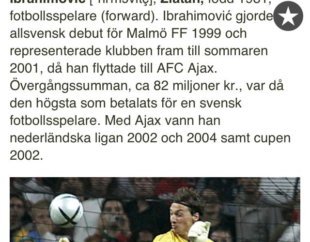 Utdrag ur NE om Zlatan Ibrahimovic.