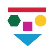 Pedagog Malmös logotype med flera former i olika färger som bildar ett ansikte.