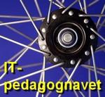 Ett cykelnav med texten IT-pedagognavet.