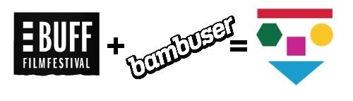 Filmfestivalen BUFF:s logotype på svart bakgrund, bambusers logotype och Pedagog Malmös logotype samsas.