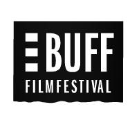 Filmfestivalen BUFF:s logotype på svart bakgrund.