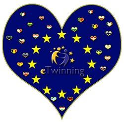 hjärta som fylls av flera små hjärtan med de europeiska ländernas flaggor.