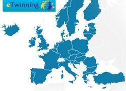 Europakarta som markerar länder som är med i e-twinning.