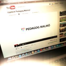 Foto av dator där Pedagog Malmös youtubekanal är öppen.