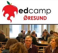 Edcamp Öresunds logotype med människor i diskussion på bilden nedan.