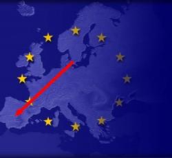 Europakarta med en röd pil från Malmö till Spanien.
