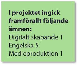 Ämnen som ingick i projektet.
