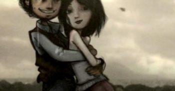 Två tecknade figurer håller om varandra.