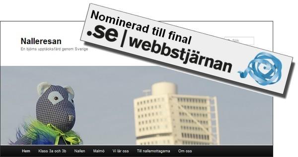 Nalle och banderoll där det står: Nominerad till final