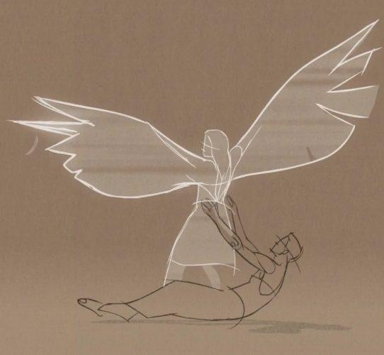 En tecknad figur omfamnar en annan bakifrån som vill flyga iväg med sina vingar.