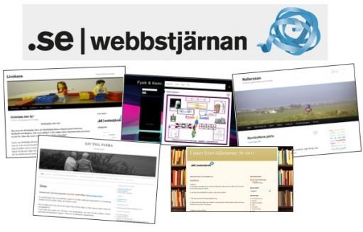 Collage av olika skärmavbilder och överst står det: Webbstjärnan.