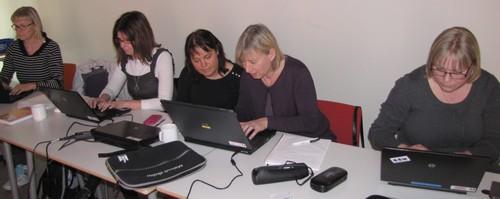 Fem kvinnor sitter vid varsin dator och jobbar.