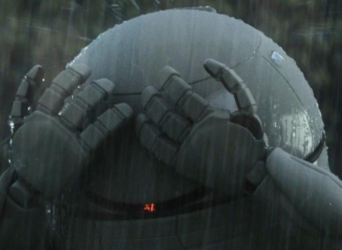Robot håller upp händerna som skydd mot regn.