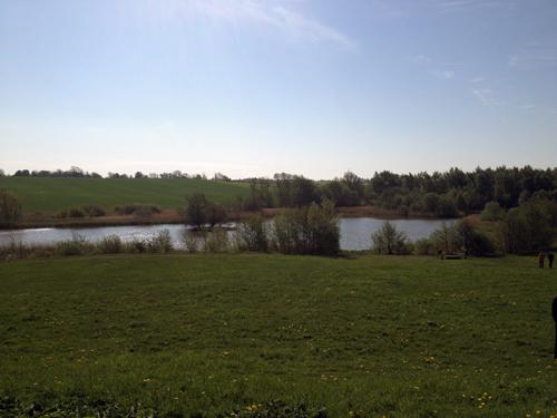 Vy över naturområde med åker, träd och vatten.