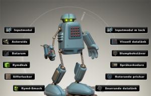 Tecknad robot.