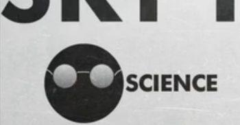Tecknad vetenskapsman.
