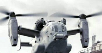 Militärhelikopter landar.
