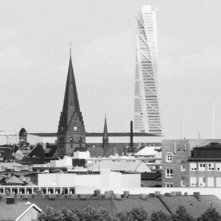 Bild över Malmö med Turning Torso i bakgrunden.