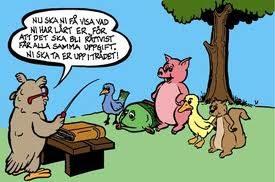 Tecknad uggla står i kateder och undervisar andra djur.