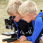 Två elever turas om att titta i mikroskop.