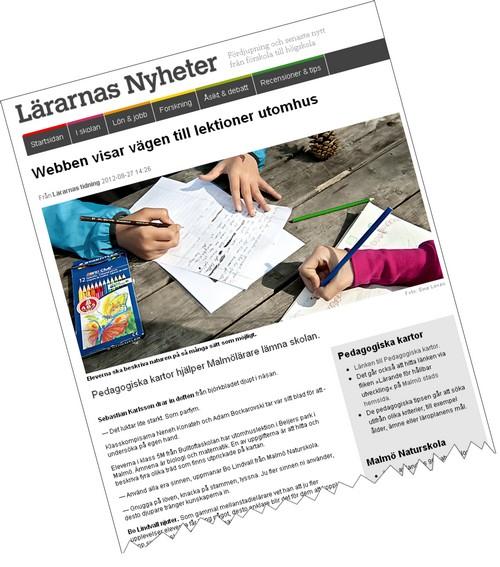 Skärmavbild av Lärarnas tidning.
