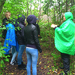 Personer i regnkläder i grön skog.