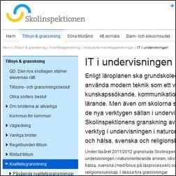 Skärmavbild av Skolinspektionens hemsida.