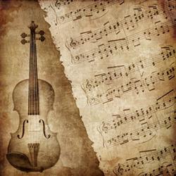 Tecknad fiol och gammal notblad.