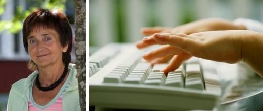 Porträtt på Mona Wiklander och barnhänder på tangentbord.
