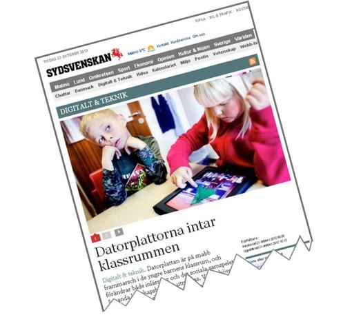 Skärmbild från Sydsvenskans artikel om datorplattor.