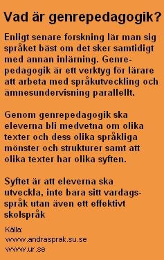 Fakta kring genrepedagogik.
