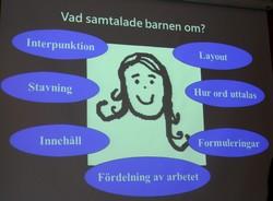 Presentation projicerad med en tecknad flicka på bilden.