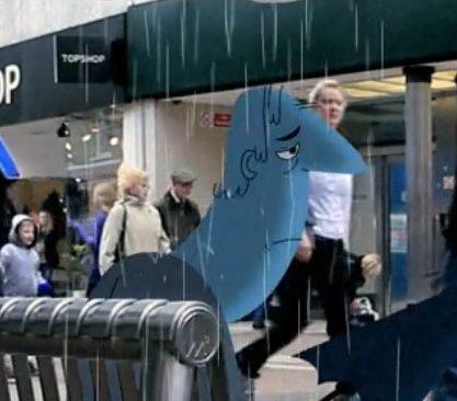 Tecknad figur sitter i regn.