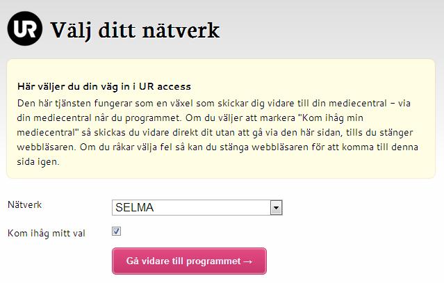 Skärmavbild från SELMA.