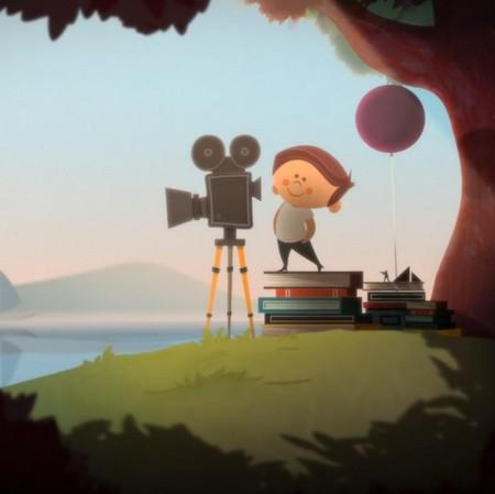 Tecknad pojke med filmkamera.