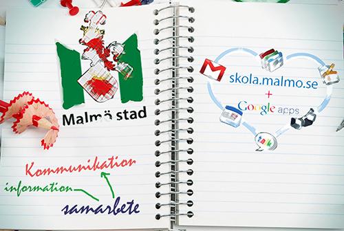 Anteckningsbok med texten skola.malmo.se + google.