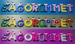 Bokstäver med cowner på bildar ordet Sagorummet.
