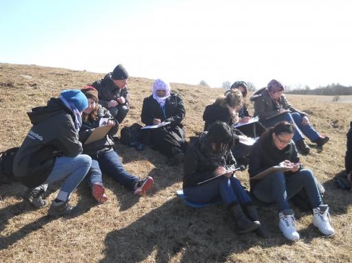 Elever sitter i backe och tecknar.