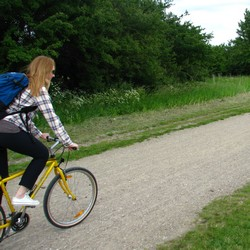 Kvinna cyklar å gul cyle på grusväg.
